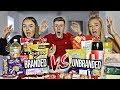 BRANDED VS UNBRANDED FOOD CHALLENGE w/SISTER & GIRLFRIEND!! (£100 PRIZE)