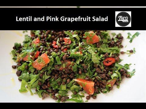 Greek Lentil Salad - Green Lentil Salad with Pink Grapefruit