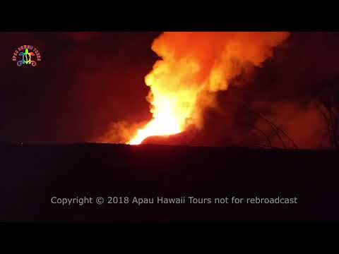 Leilani Estates early morning at fissure #8 5 AM June 8, 2018