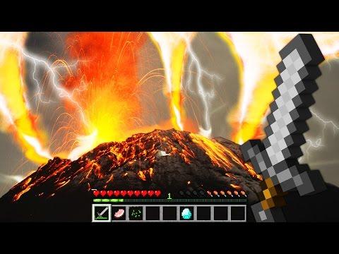 REALISTIC VOLCANO ERUPTION (FIRE TORNADO) IN MINECRAFT  | Minecraft - Mod Battle Challenge