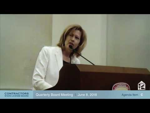 CSLB Quarterly Board Meeting June 8, 2018 - Day 2