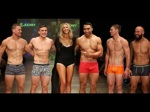 All Blacks rugby players on the catwalk