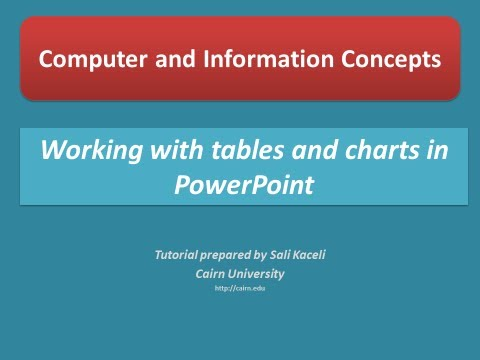 Inserting tables and charts in a presentation in PowerPoint 2010