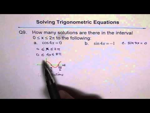 Find Number of Solutions Trigonometric  Equation Q9