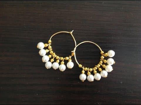 DIY Gold beaded hoop earrings using pearls II DIY Earrings