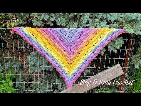 How To Crochet Rainbow Sherbet Ladies Shawl Crochet Tutorial #484