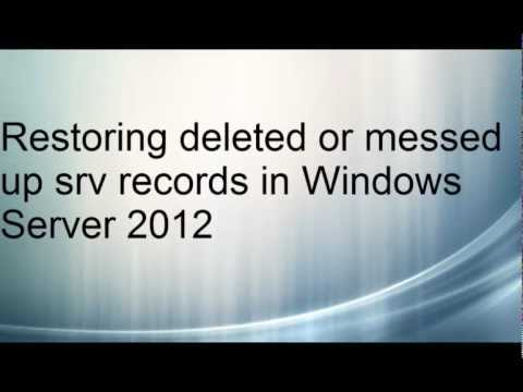 Restoring deleted srv records in Windows Server 2012