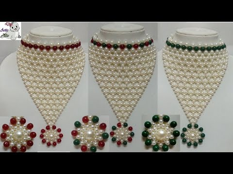 #49 How to Make Pearl Beaded Choker Necklace || Diy || Jewellery Making