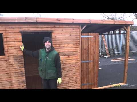 14x6 pent wooden shed with 6ft overhang - Easy Shed