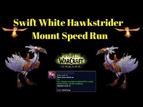 Warcraft Mounts - Swift White Hawkstrider Speed Mount Guide + Battle Pet and TOY!!