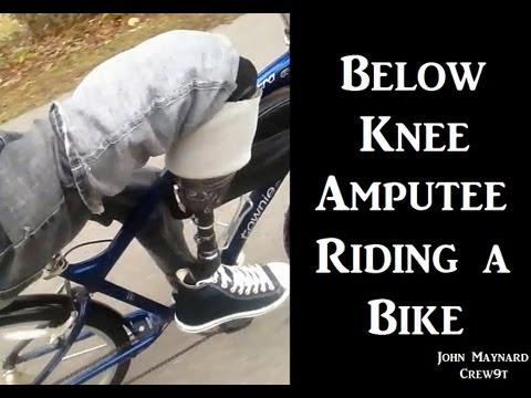 Below Knee Amputee Riding a Bicycle