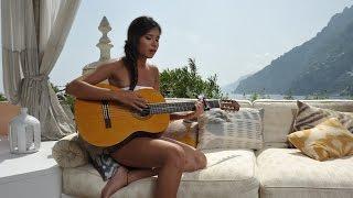 Valentina Giardullo a Villa Tre Ville di Positano Amalfi Coast con Hamalfitè Beachwear