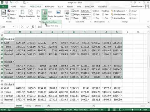 Setting and Removing a Print Area in Excel 2013
