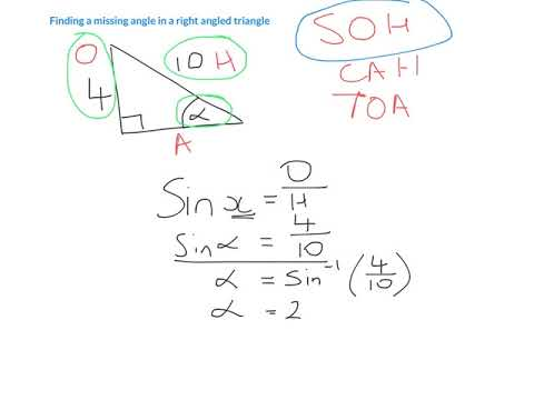 Finding a missing angle in a right angled triangle