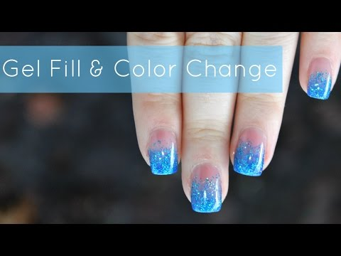 HOW TO: Gel Nails Fill & Color Change | Blue Glitter Fade Tutorial