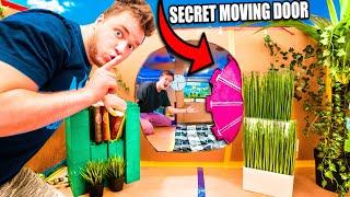 24 HOUR TOP SECRET BILLIONAIRE BOX FORT! Secret MOVING DOOR, Nerf Room & More!