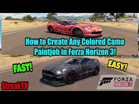Forza Horizon 3 - How to Create ANY Colored Camo Paintjob! (FAST and EASY!)