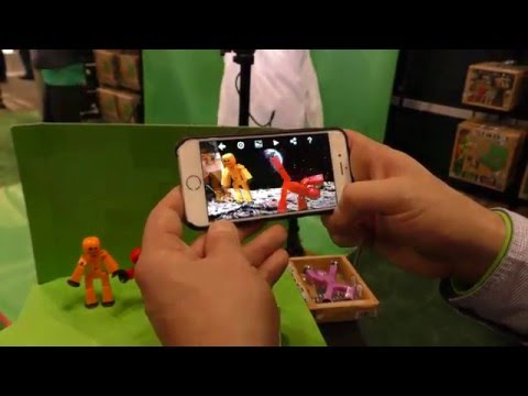 StickBot Studio Stop Motion Animation Stick Figure With Green Screen & App First Look Toy Fair 2016