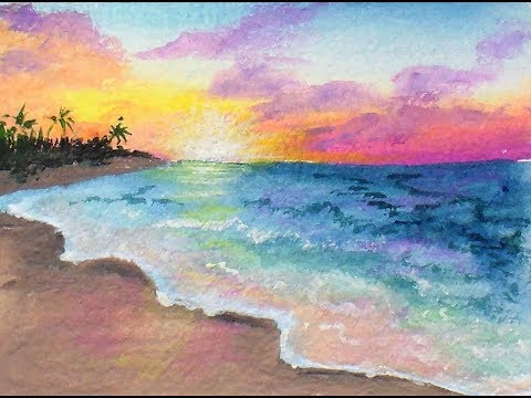 Easy Pastel Sunset Painting Tutorial for Beginners & DIY Gouache from Watercolors