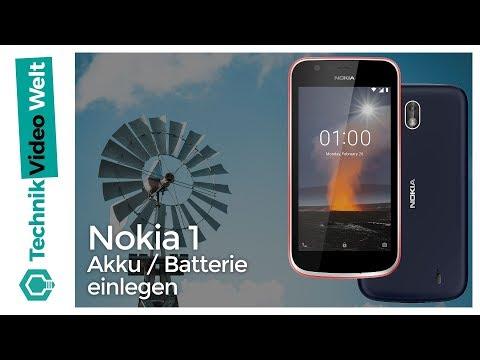 Nokia 1 Akku Batterie einlegen