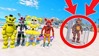 WITHERED FREDDY IS SENT TO BEACH JAIL! WILL HE BREAK OUT? (GTA 5 Mods For Kids FNAF Funny Moments)