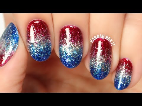 4th of July Glitter Gradient Nails (No Sponging!)