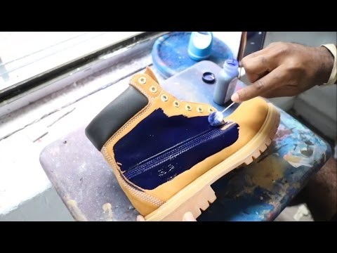 CUSTOM MADE BLUE TIMBERLAND BOOTS!!