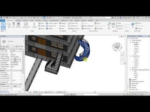 REVIT ARCHITECTURE 2018 LESSON-11 in TELUGU (How to create Straight & Curved STAIRS