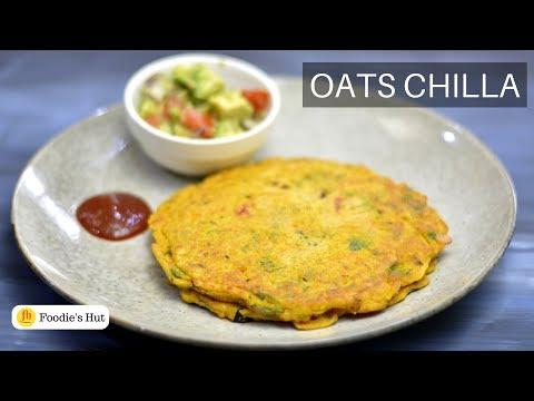 Oats Chilla - Healthy Indian Vegetarian/Vegan Breakfast Recipe by Foodie's Hut #205