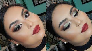 FUN HOLIDAY MAKEUP LOOK | Green Eye Look + Red Lips