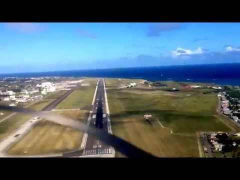 Landing in Barbados ,cockpit view