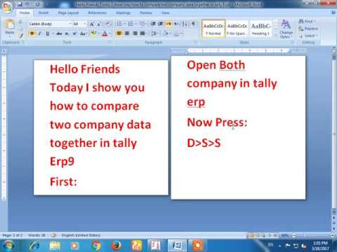 Compare Two Company Data In Tally Erp9 together