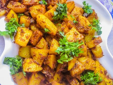 Jeera Aloo in Microwave (Potatoes cooked with cumin seeds)