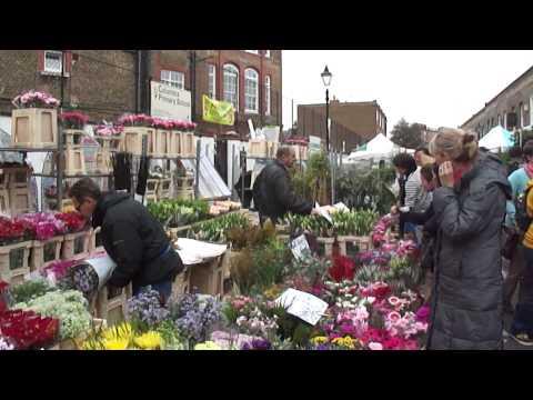 Walking through Columbia Road Flower Market, London, UK; 6th November 2011