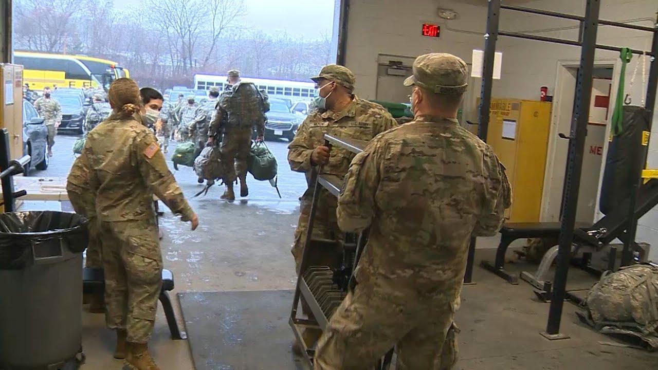 Hundreds of National Guard troops leave Massachusetts for Washington