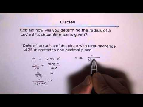 Find Radius from Circumference of Circle
