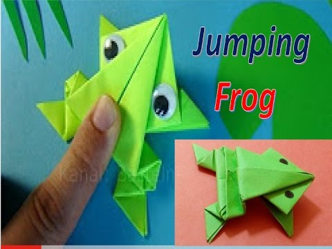 How to make a paper frog that jumps high and far-Origami jumping frog.
