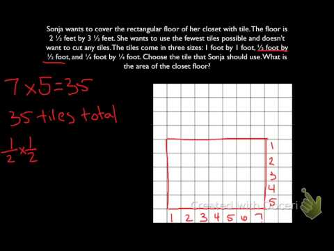 Finding Area of a Rectangle with Fractional Sides - Tiling