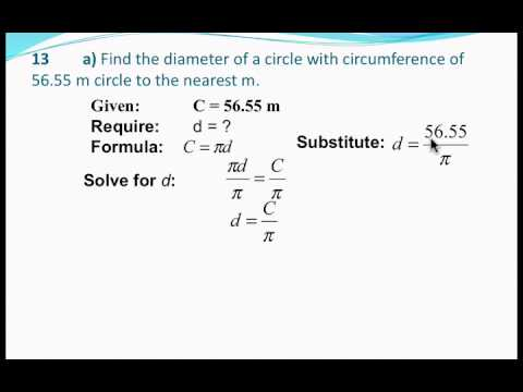 Circumference of a circle : Finding diameter and area given the circumference