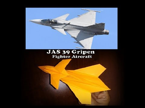 How to make paper plane- model of JAS Gripen- fighter aircraft. Eurofighter.