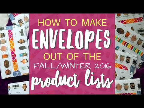 Scentsy Product List Envelopes (Fall/Winter 2016)