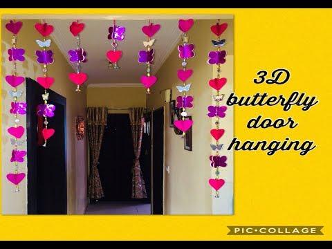 How to make 3D butterflies & 3D hearts mirrors door hanging decor using paper ,mirrors, & glue gun