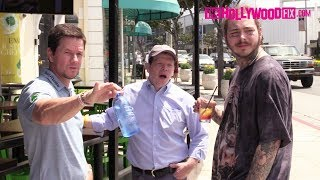 Post Malone & Mark Wahlberg Meet Up For Drinks At Wahlburgers & Post Speaks On His Face Tattoos