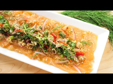 Spicy Salmon Salad Recipe (Laab Salmon) ลาบแซลมอน - Hot Thai Kitchen