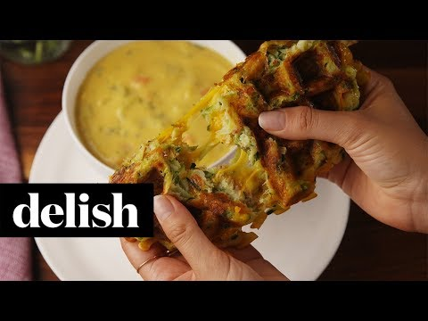 Zucchini Waffle Grilled Cheese | Delish + O, That's Good!