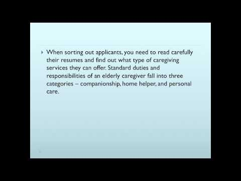 Qualifications for an Elderly Caregiver Applicant