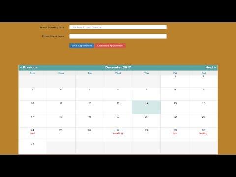 php mysql ajax event calendar