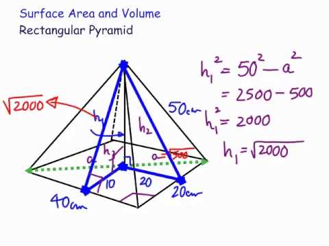 Surface area and volume of a rectangular pyramid