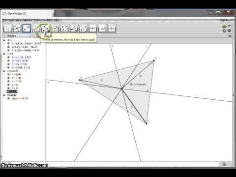 Perpendicular Bisectors of a Triangle (Geogebra)