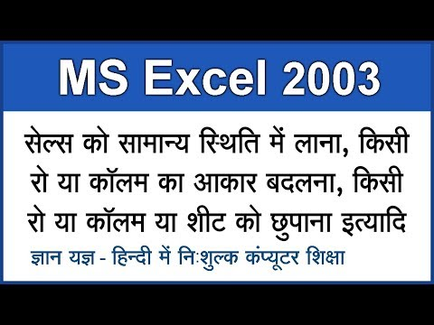 MS Excel 2003 Tutorial in Hindi / Urdu : Changing Size Of Rows or Columns & Renaming Sheet - 4